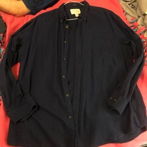 Dark navy men's button front long sleeve shirt